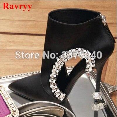 все цены на Ravryy New Black Pointed Toe Women Ankle Boots Hollow Out Rhinestone Summer Boots High Heels Bota Feminina Women Pumps онлайн