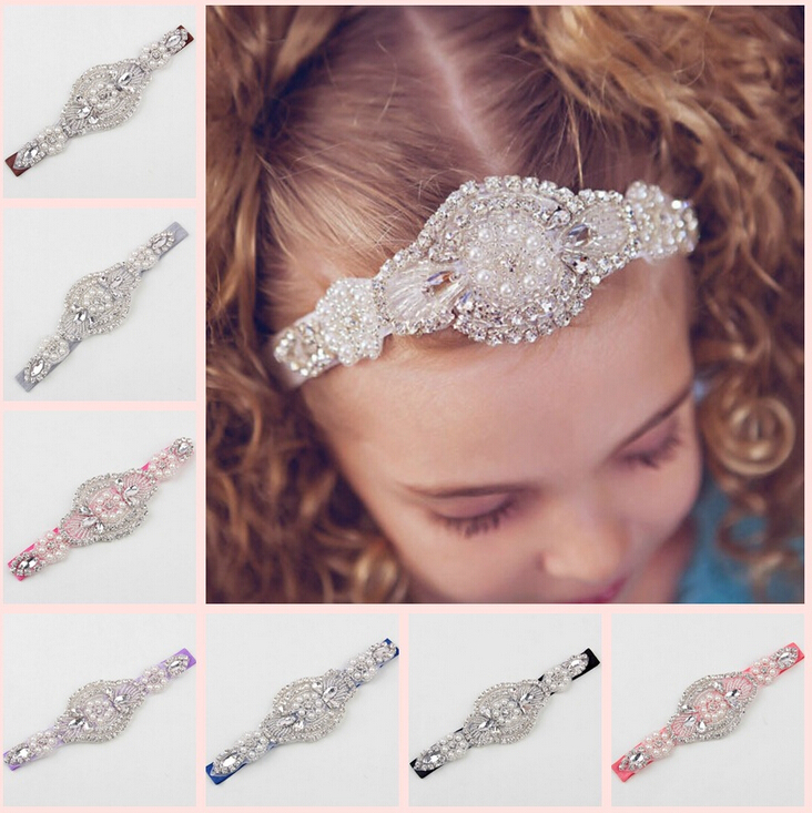 Wedding Lace Baby Girl Pearl Headband Crystal Hair Band Rhinestone