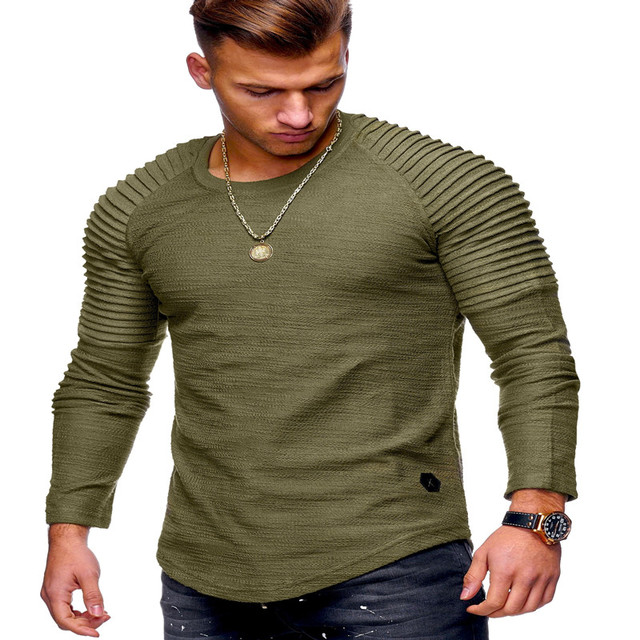2018 new fashion men s round neck Slim solid color long-sleeved T-shirt  striped fold men s shirt T-shirt hip-hop casual T-shirt a06dbff664e