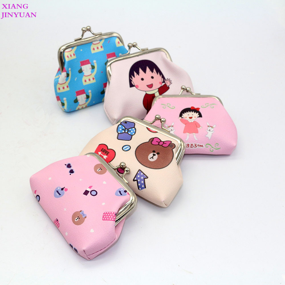 2018 New Mini Small Bag Cute Cartoon Little Girl Zero Wallet Fashion PU Little Bear Character Coin Pouch Metal Hasp Kid Purse