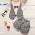 2017 Latest Summer Fashion Children Suit Kids Toddler Boys Clothing 2 pieces Set Bow T-shirt+Shorts Children Set Cotton T644