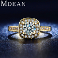 MDEAN Rings for Women gold plated Cubic Zirconia ring Engagement Luxury fashion Bague Wedding Bijoux accessories MSR191