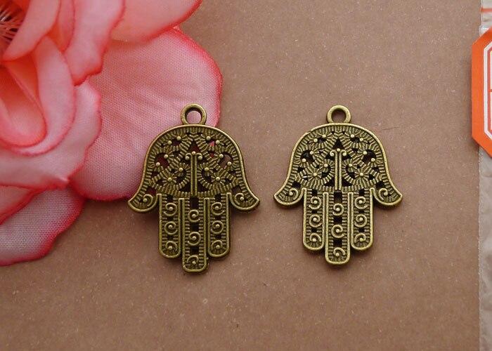 Free Shipping Fatima Amulet Fashion Style 15pcs/lot 30x23mm Antique bronze hamsa hand Charm Bracelet For Women Jewelry
