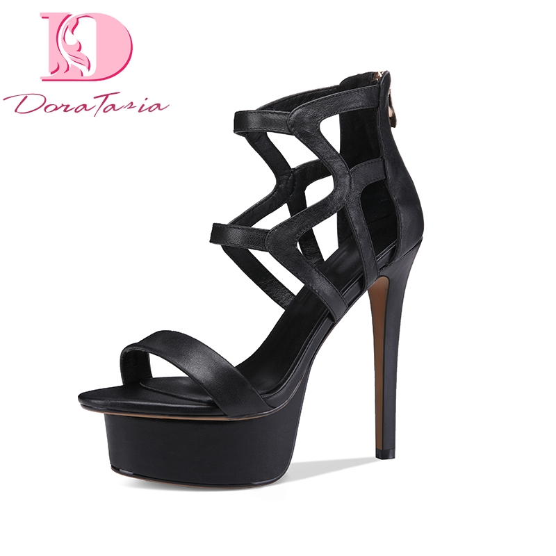 DoraTasia Brand New Genuine Leather Size 33-40 Platform Women Shoes Sexy Thin High Heels Party Woman Gladiator Sandals Shoes brand new qitong pu 13cm woman thin ultra heels platform lady sandals nightclub t walk woman shoes high heeled sexy party shoes