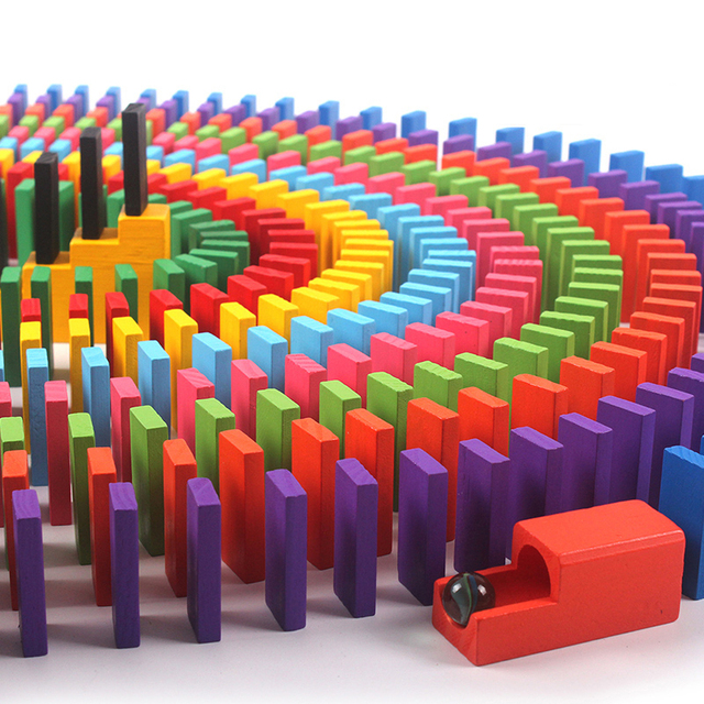 100 120 240 360 480pcs Kids Wooden Blocks Toy Colored Domino Children Early Educational Stacking Dominoes Game Kids Building Toy