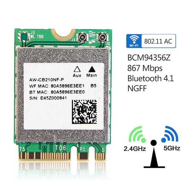 Dual band Broadcom BCM94356Z NGFF M.2 WiFi Bluetooth 4.1 WLAN 802.11ac 867Mbps 2.4G/5Ghz Mini Card AW-CB210NF-P