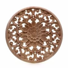 RUNBAZEF Carved Flower Carving Round Wood Appliques for Furniture Cabinet Unpainted Wooden Mouldings Decal Decorative Figurine(China)