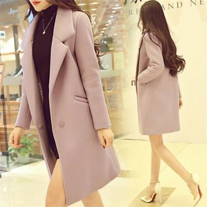 2018 Ms woolen coat long section fall and winter clothes new Slim female students College Wind