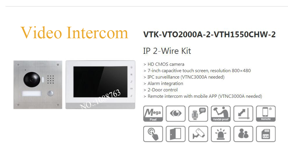 Free Shipping DAHUA Video Intercom 7 Inch IP 2-Wire Kit HD CMOS camera Without Logo VTK-VTO2000A-2-VTH1550CHW-2