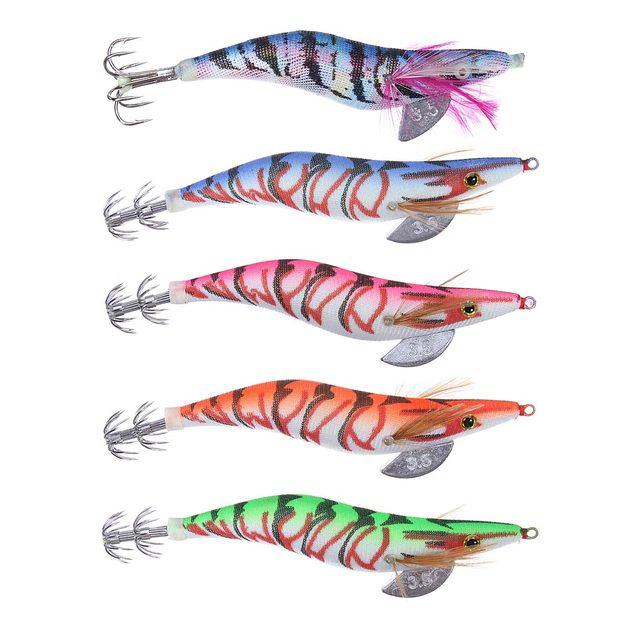 latest arrival hot 5 pcs/pack 13.5cm20g wood shrimp squid fishing, Hard Baits