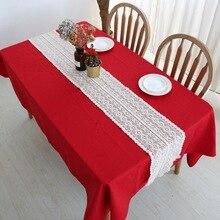 Mantel estrecho de encaje de algodón con borlas para Decoración de mesa de boda de estilo Vintage
