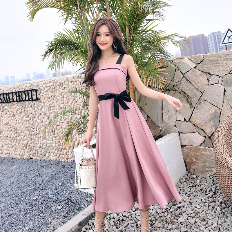 New Summer Women dress Spaghetti Strap Small Clear Straps Long Render A Word Dresses Blue-gray White Red Blue 5833