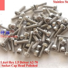 Винты из нержавеющей стали M1.6X6 DIN 912 головка гнезда A2-70 полированная ROHS 100 шт