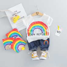 цена на 2019 Summer Baby Boys Girls Short Clothing Sets Infant Toddler Clothes Suits Cartoon T Shirt Shorts Kids Children Casual Suit