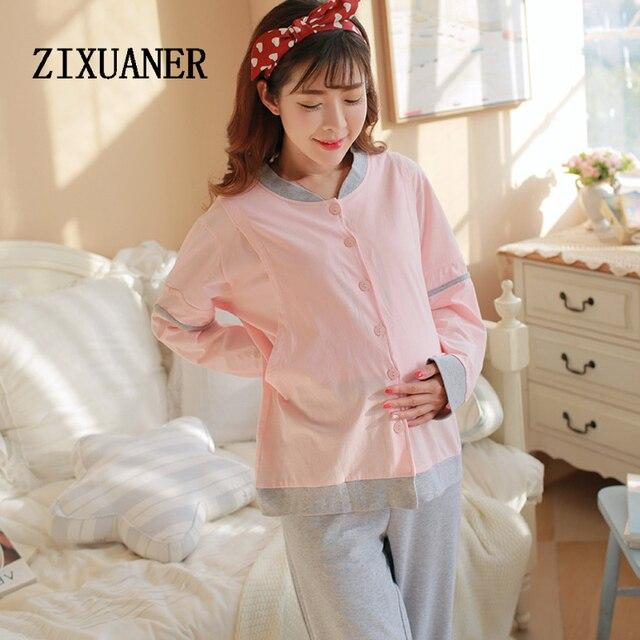 df7457293 ZIXUANER Enfermería lactancia Pijamas ropa de Dormir de Algodón Mujeres de Maternidad  para Embarazadas Ropa botón