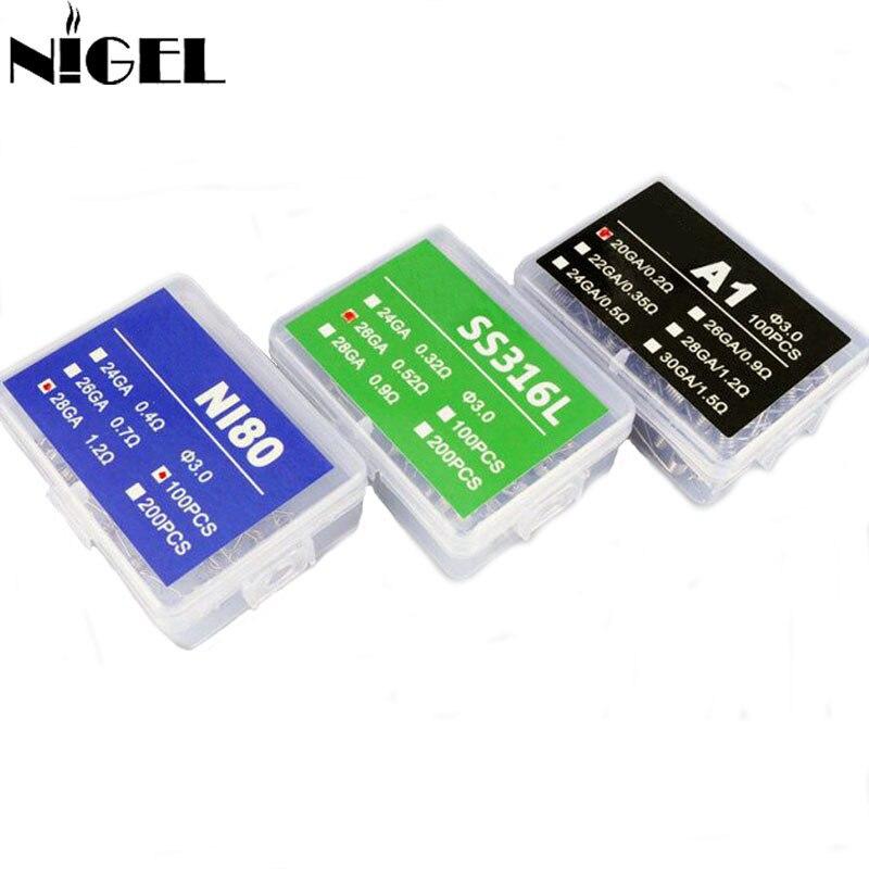 NI80 Coils A1 SS316L 100PCS Nichrome Prebuilt Coil 20GA 24GA 26GA 28GA Premade Vape Coils For DIY RDA RTA Rebuildable Atomizer