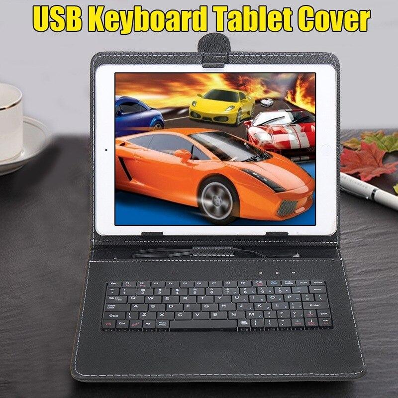 Yunai 1 шт. черный/белый USB клавиатура кожаный планшет крышка Защитный Чехол держатель универсальный для 10 дюймов планшет из искусственной кож...