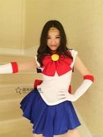 Cosplay Costume Anime Sailor Moon Tsukino Usagi uniform Japanese halloween 5 in1 dress+necklace+bowknot+gloves+head band