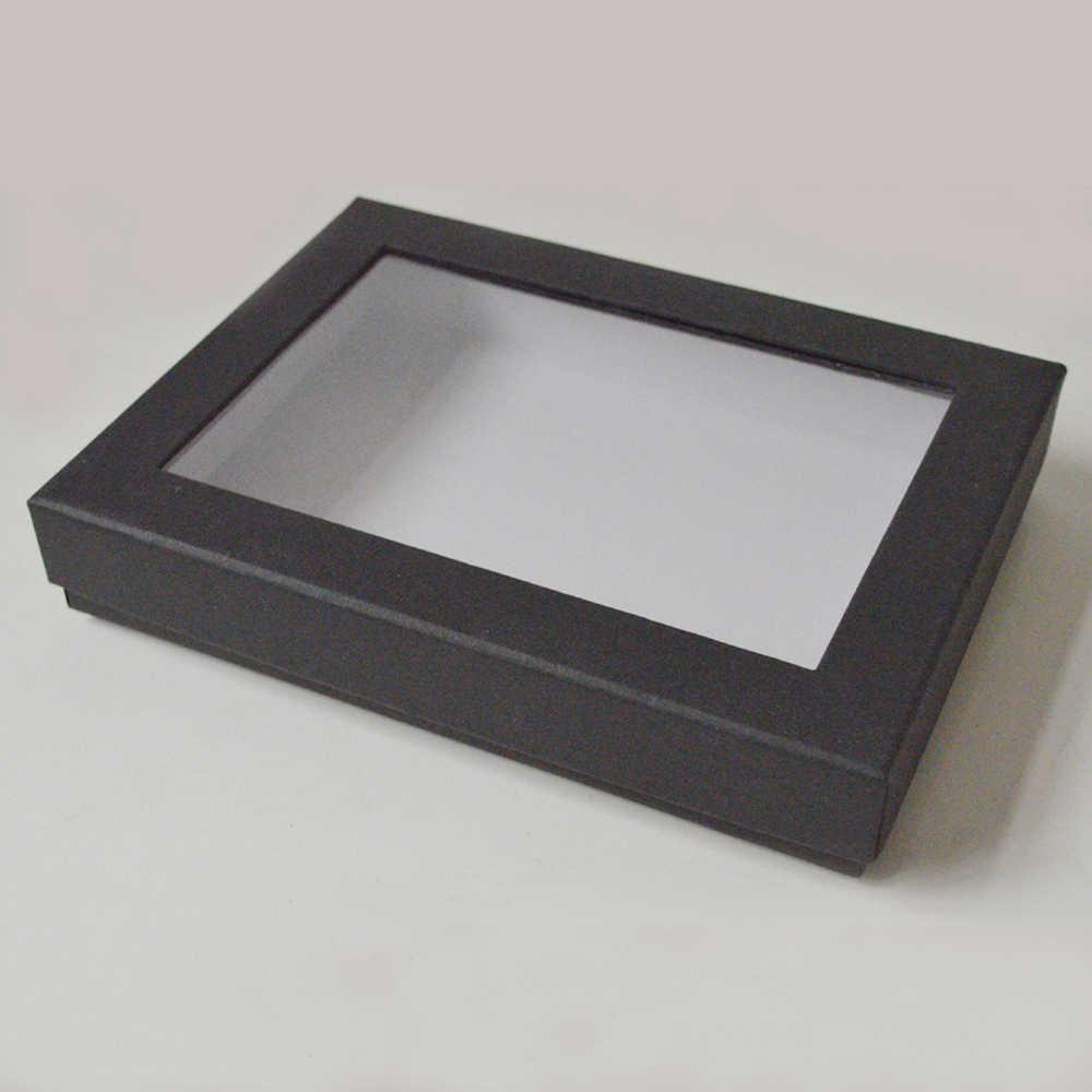 500pcs Wholesale Custom Box Window Cardboard Custom Packaging Box With Clear Lid Printed Logo Display Paper Gift Box 18 12 2cm