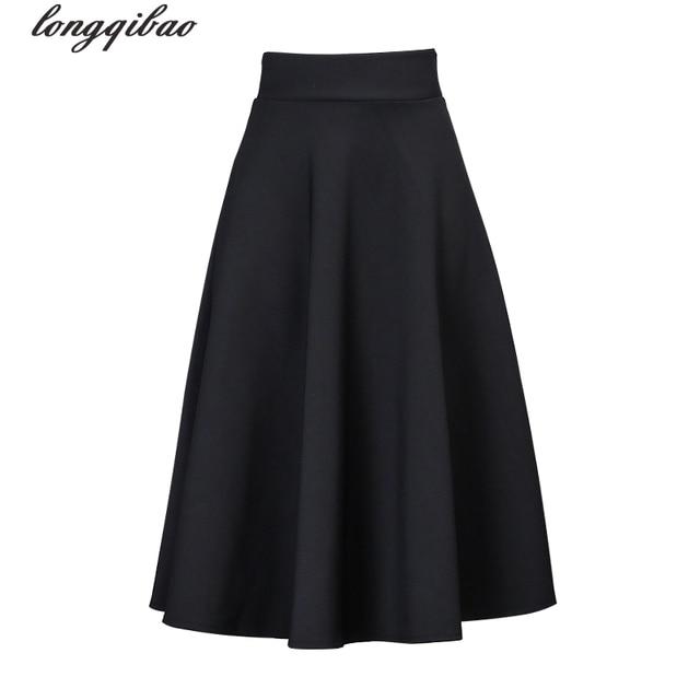 482035e989 Modelos de primavera y verano señoras falda simple de gran tamaño alta  cintura delgada sección larga