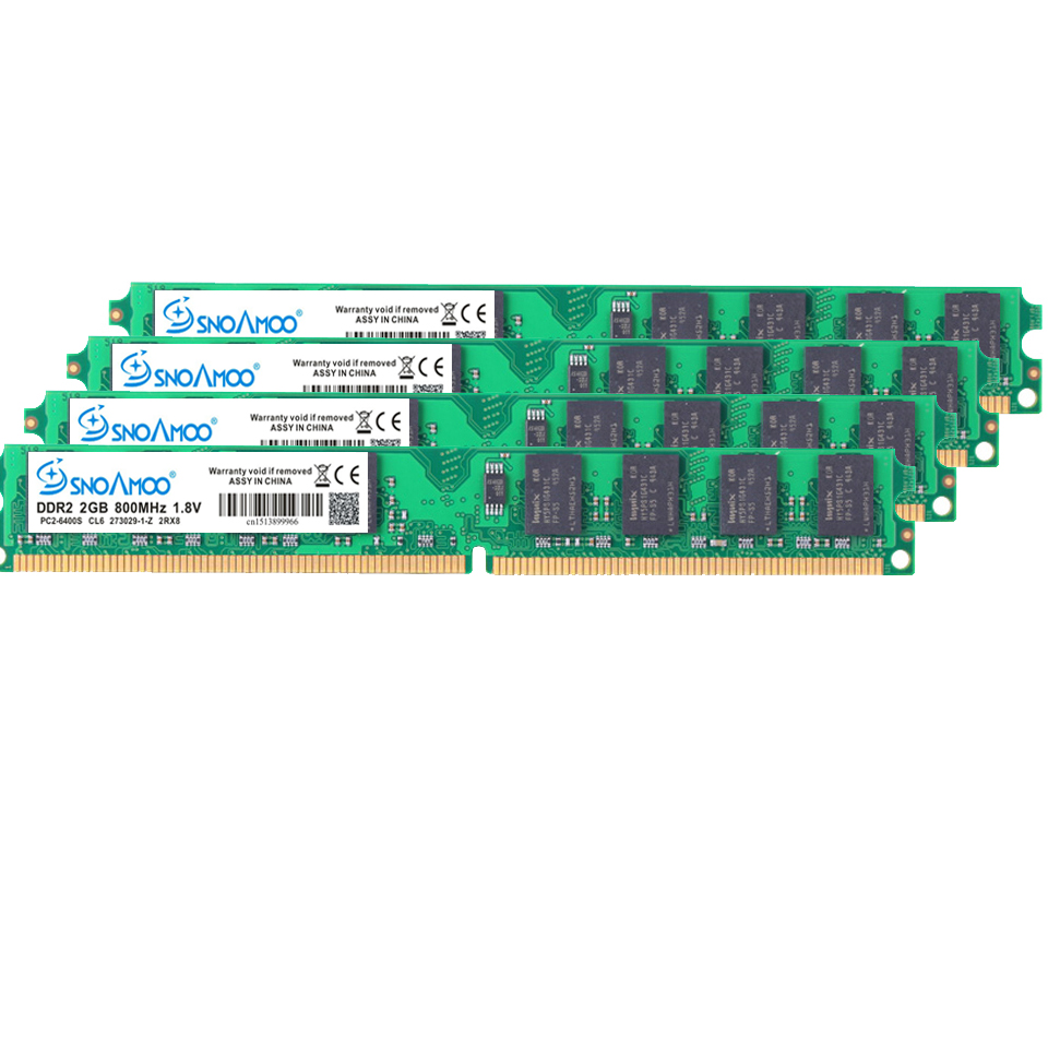 Купить с кэшбэком SNOAMOO New DDR2 2GB Desktop PC ARM 667Mhz PC2-5300S 240 Pin 800MHz PC2-6400S 1GB 4GB DIMM For Intel Compatible Computer Memory