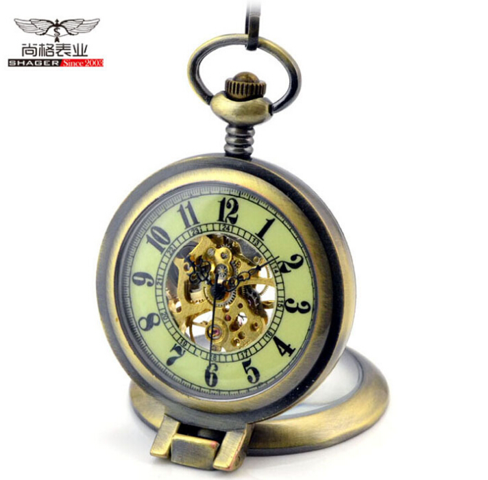 2015 Fashion Steampunk Mechanical Pocket Watch Men Women Necklace Clock GIFT FOB Vintage Bronze Luminous Pocket Watch retro steampunk bronze pocket watch eagle wings hollow quartz fob watch necklace pendant chain antique clock men women gift