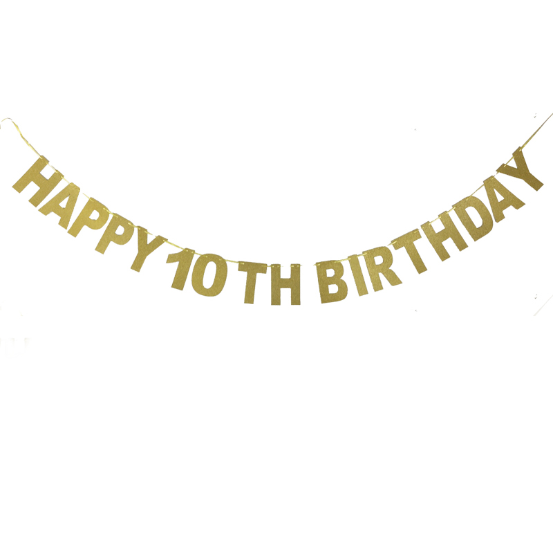 HEY FUNNY 1Set HAPPY 10 TH BIRTHDAY Bunting Banner Children birthday / game party together nice Decorations