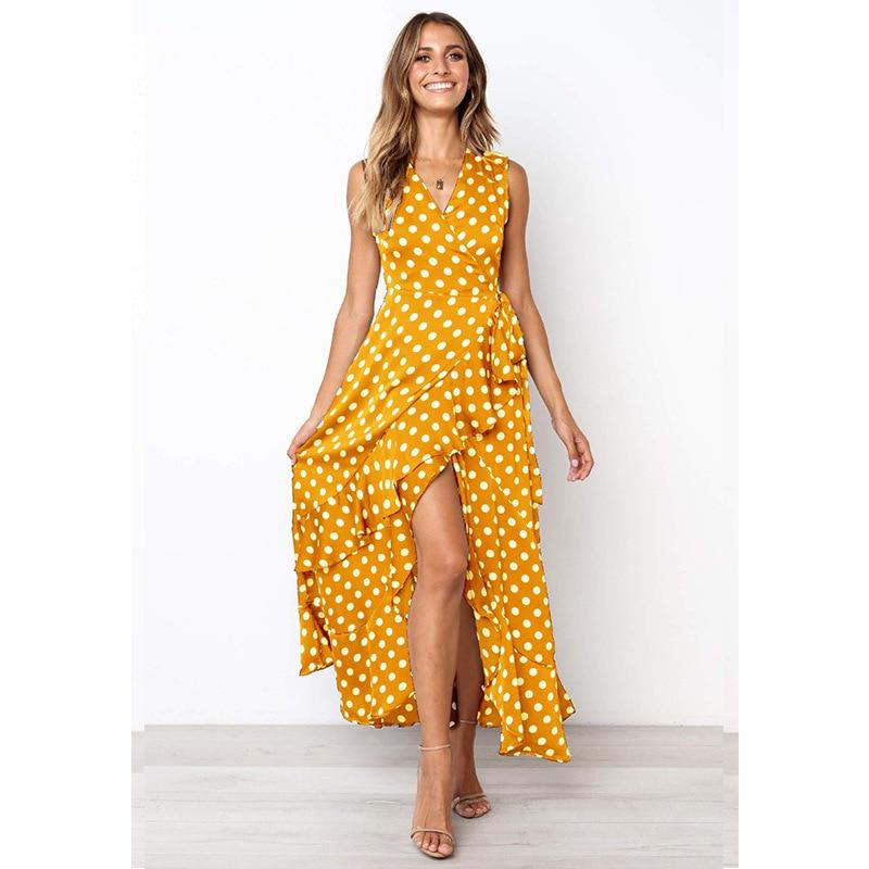 US $13.05 31% OFF|plus size S 3XL womens long dress polka dot print dress  split retro vintage maxi dress elegant ladies summer vestidos yellow-in ...
