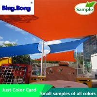 sample of sun shade sail Color card PU polyester waterproof fabric HDPE 1m*1m*1m triangles / square