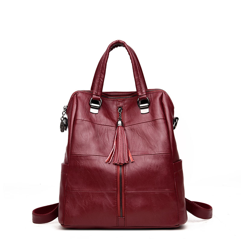 Women Multifunction Backpack Leather Tassel Shoulder Bag Large Capacity Backbag Female Zipper School Bag Girl Travel Bag Mochila