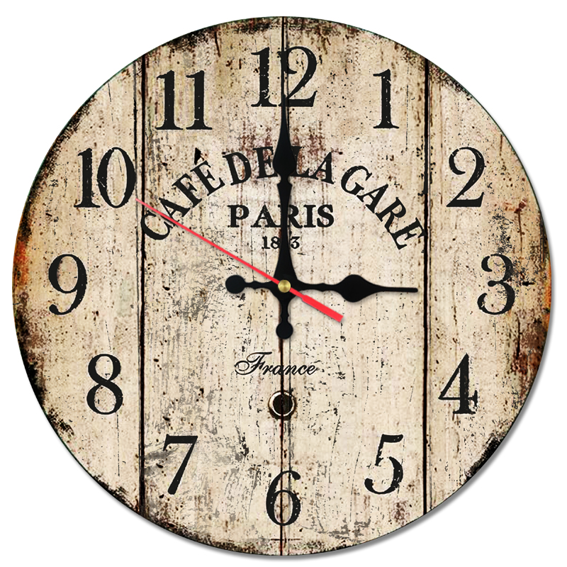 Rushed Wall Clock Wooden Clocks Quartz Watch Home Decor Single Face Stickers Creative Style Living Room Modern Still Life