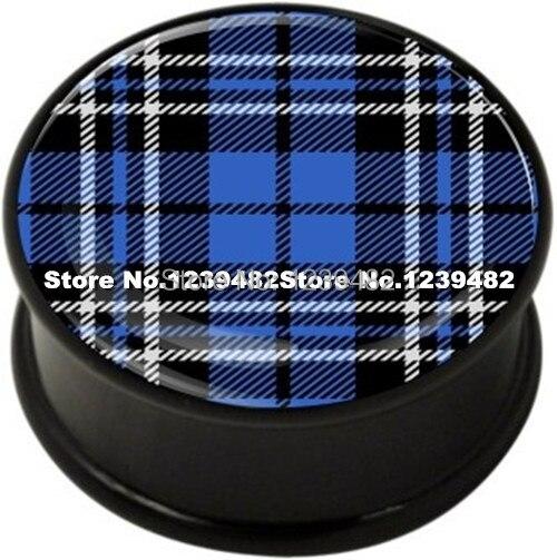 60pcs mix 10 sizes UV acrylic bule font b Tartan b font logo single flared ear