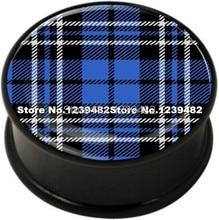 60pcs mix 10 sizes UV acrylic bule Tartan logo single flared ear plug gauges flesh tunnel body piercing jewelry SFP0129