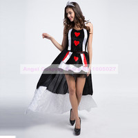 Sexy Vicious Witch Poker Queen Cosplay Costume Fancy Dress Masquerade Red Heart Queen Halloween Costume For