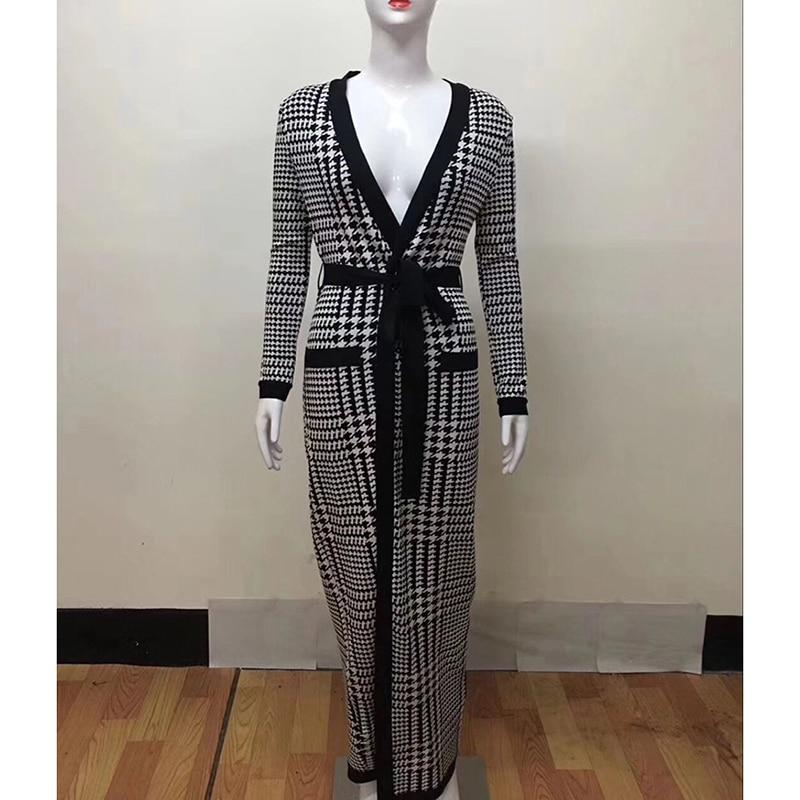 De Nouveau Tranchée Mode Designer Street Manches À High Manteau Piste Externe Bandage Longues long Trench 2018 X Plaid Femmes Usage 5FcqtnR1