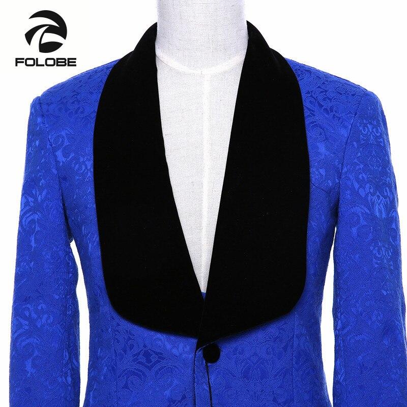 Chaqueta para hombre de marca nueva, chaqueta de traje azul real ajustada, estilo inglés, abrigo terno masculino, Blazer de talla grande M19 - 5