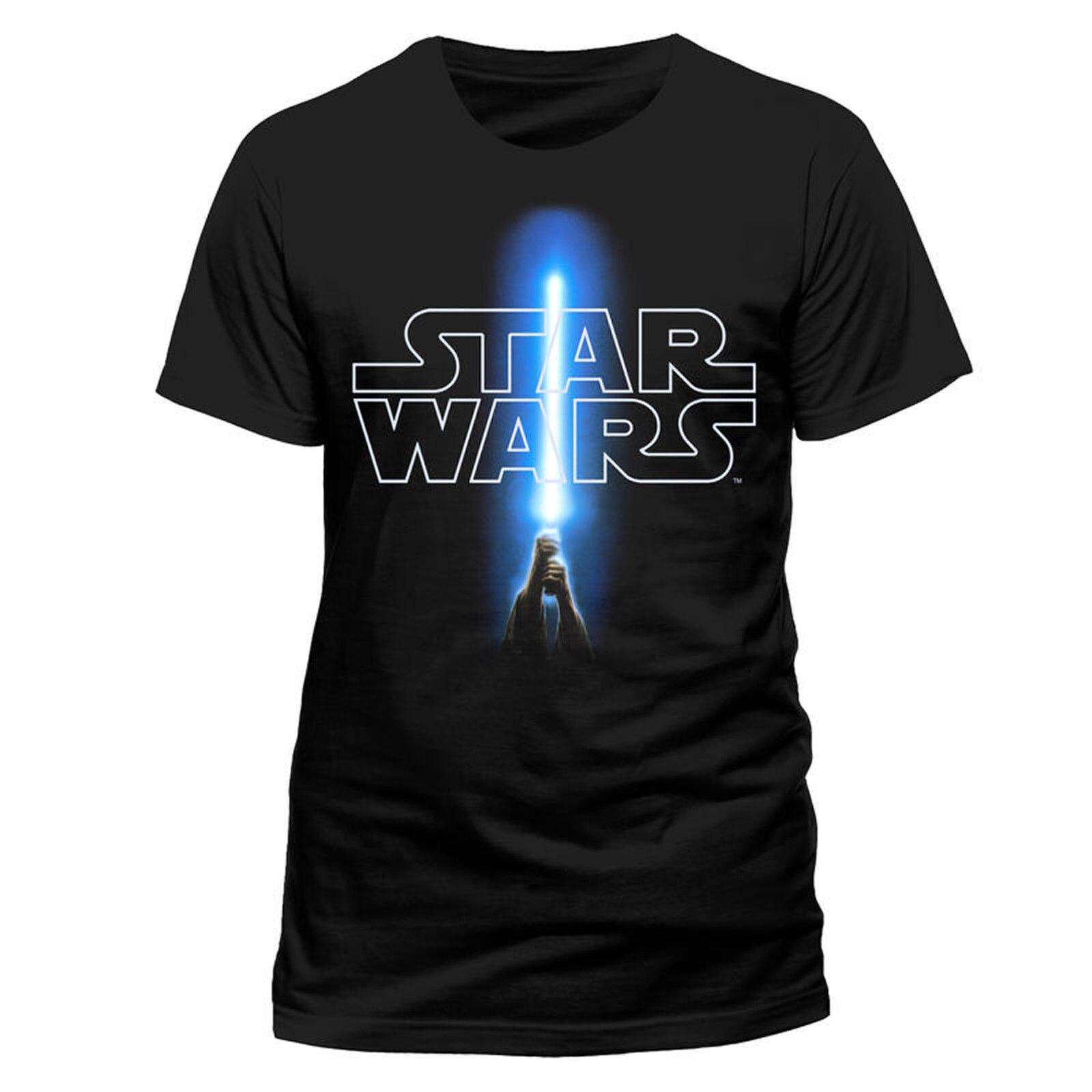 Star Wars Jedi Lightsaber Logo Luke Skywalker Official Tee T-Shirt Mens Unisex Casual Short Sleeve T Shirt Novelty