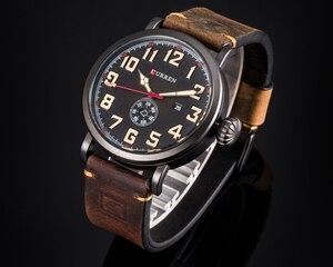 Image 2 - Nouveau CURREN hommes montres Top marque de luxe hommes montre à Quartz étanche Sport militaire montres hommes en cuir relogio masculino