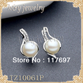 Sinya English lock sterling silver Earring 9MM-9.5MM  AAA grade freshwater pearl vintage jewelry hoop earrings For women