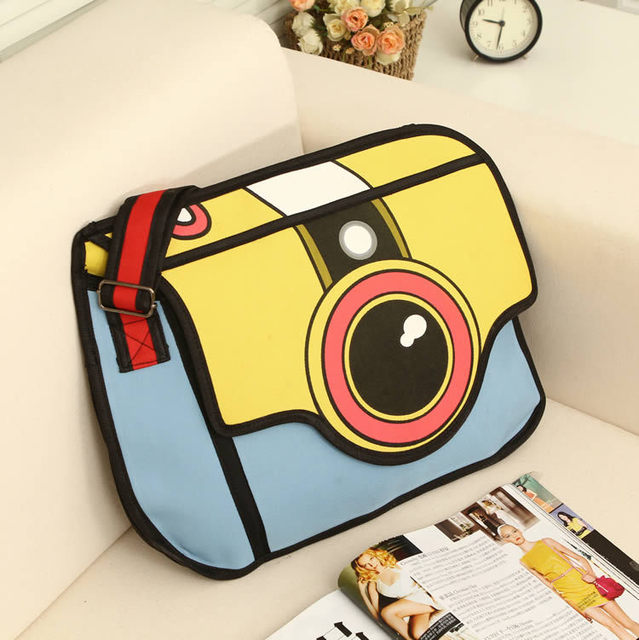 2017 Hot Women S Fashion Handbag 2d Comic Shoulder Bag Novelty Camera Printed Messenger Bags