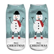 2018 New Women 3D Christmas Socks Unisex Cartoon Elk Snowman Santa Socks Women Low Cut Ankle Christmas Socks Calcetines Mujer