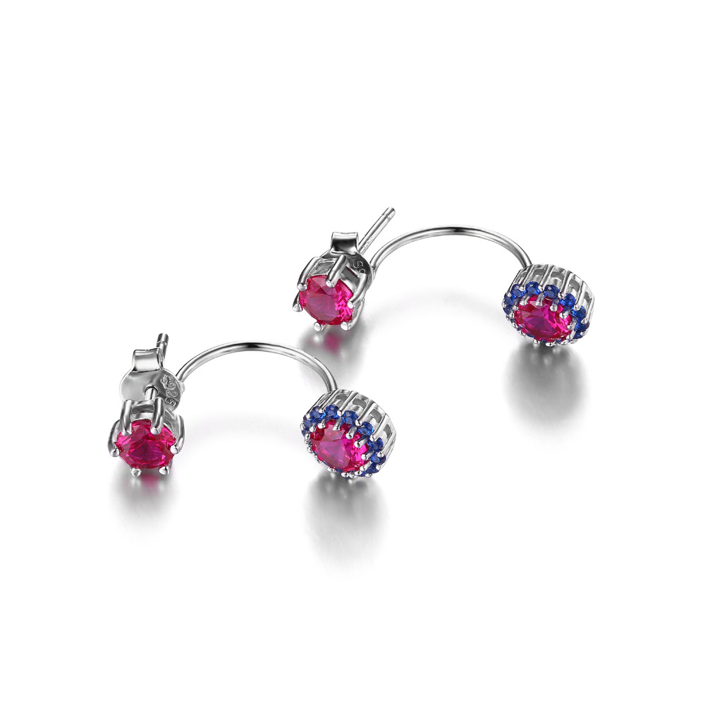 Jewelrypalace Round 2 6ct Created Ruby Blue Spinel Earrings
