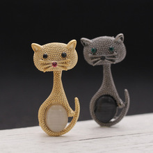 Vintage Women Opal Cat Eye Brooch Pin Cute Animal Brooches Collar Clips Wedding Party Jewelry Gifts M8694