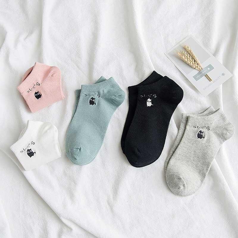 New Leisure Solid Color Cartoon Cat Short Sock Breathable Comfortable Cotton Sweat Women Short Sock Chaussettes