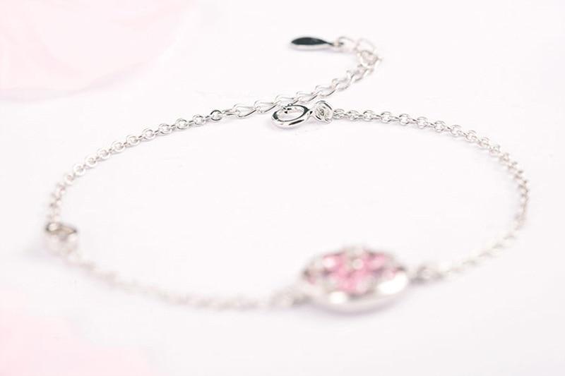 Silver Cherry Blossom Bracelet With Zircon Sakura Bangle Women 925 Sterling Jewelry 6