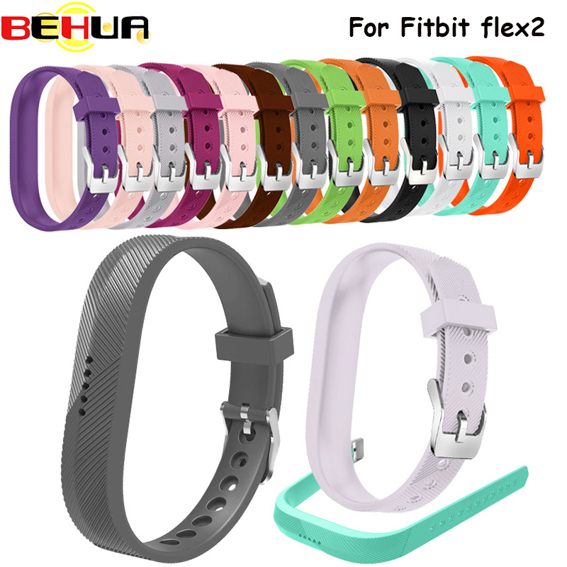 Silicone Sports Wristbands Strap Holder Replacement Case With Stainless Steel Buckle For Fitbit Flex 2 Flex2 Smart Watch Band