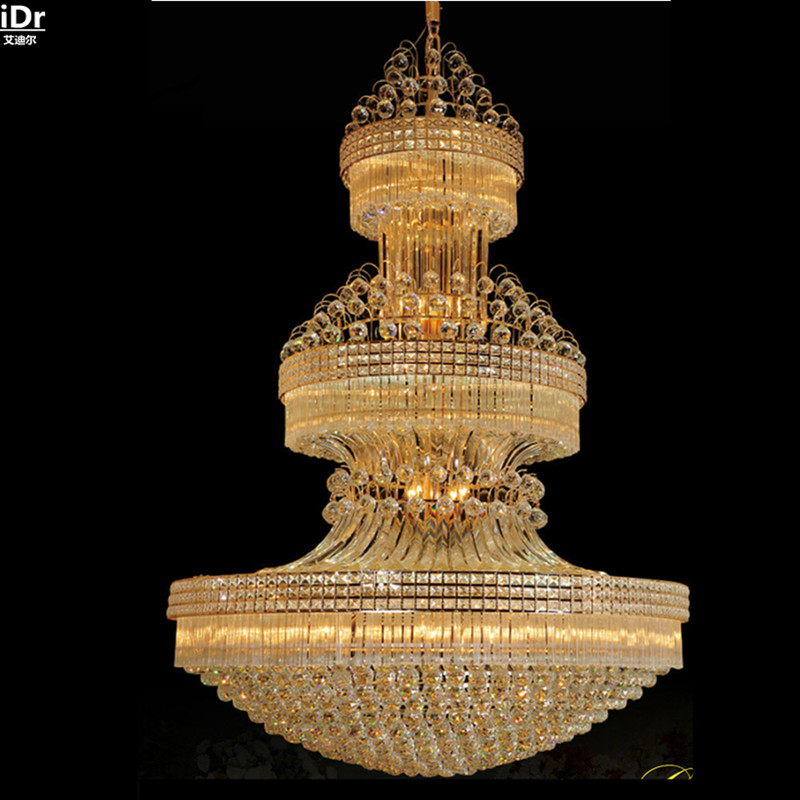 Modern luxury villa penthouse floor, LED crystal lamp living room lamp large projects Chandeliers Lmy-006