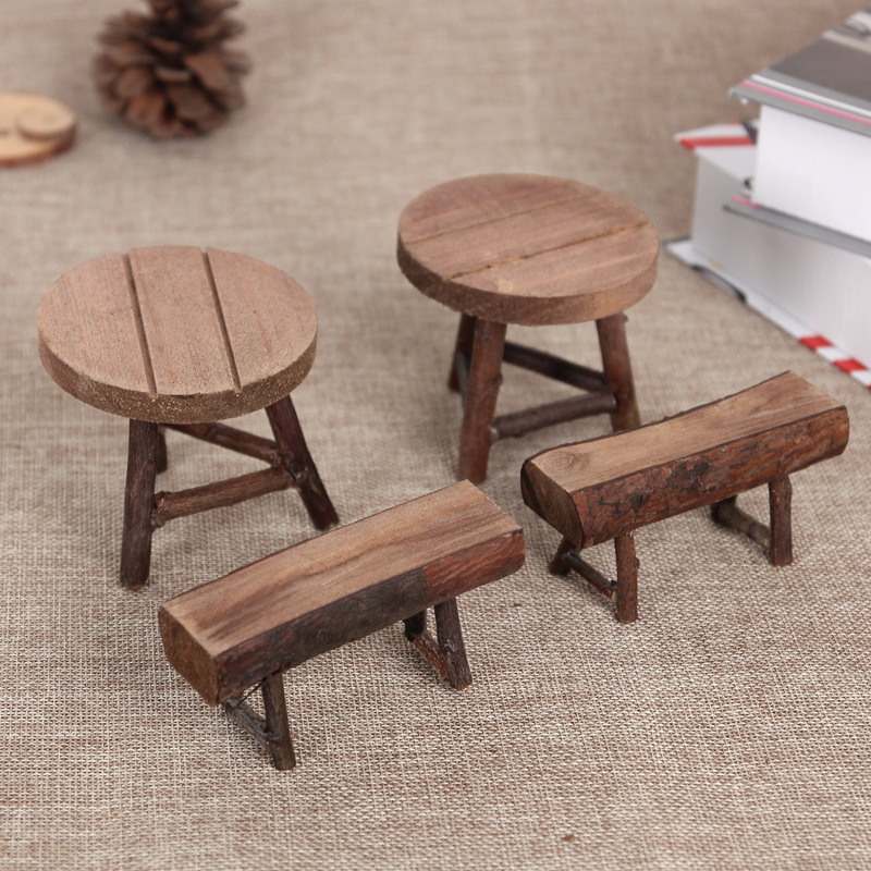 2019 Latest Design Natural Wood Table Stool Small Mini Round Rectangle Props Fleshy Moss Mini Bonsai Garden Decoration Excellent Quality In