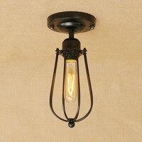 Loft vintage minimalism iron cage black ceiling lamp led E27 AC 110V 220V ceiling lights for bedroom living room bathroom bar