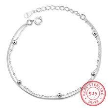 Женский браслет из серебра 925 пробы с бусинами и двойной цепочкой